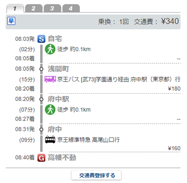 サイトや自社システム内の交通費計算イメージ